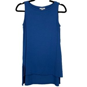 H by Halston Hi-Low Hem Sleeveless Top in Blue